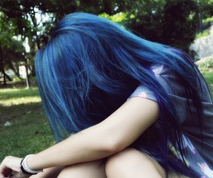 blue, blue hair, and cute image