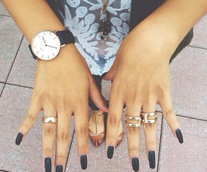 nails, accessories, and black image