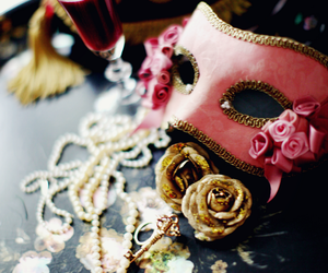 mask, pink, and rose image