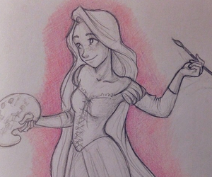 sketch, drawing, and princess image