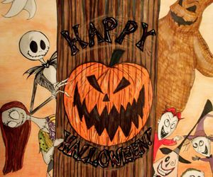 sally, happy halloween, and jack the skeleton image