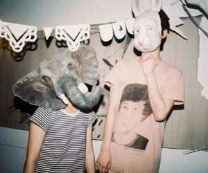 boy, mask, and elephant image