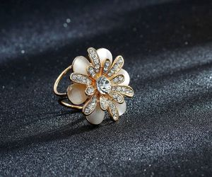 flower scarf ring, trio scarf ring, and opal flower scarf ring image