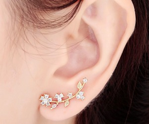 flower ear cuff, crystal flower, and cuff earring image