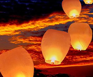 colors, golden, and lanterns image