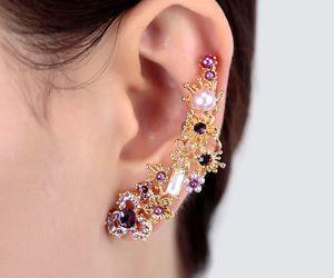 left ear cuff, flower ear cuff, and pearl ear cuff image