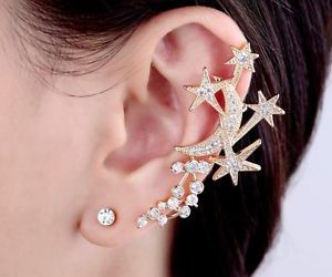 gold ear cuff, left ear cuff, and cartilage ear cuff image