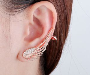 ear wrap earring, angel wing ear wrap, and punk style ear wrap image