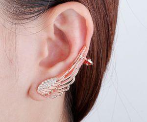 crystal ear wrap, ear wrap earring, and angel wing ear wrap image
