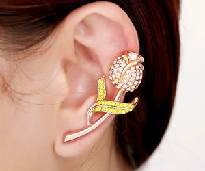 earing, flower, and tulip image