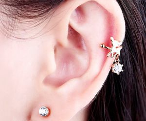 crystal ear wrap, non piercing ear wrap, and non pierced ear wrap image