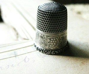 sewing, thimble, and vintage image
