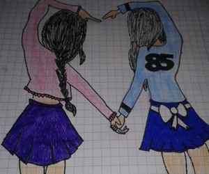 best friends, drawing, and selbst gemacht image