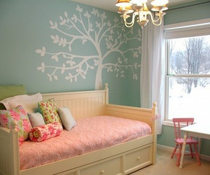 room, pink, and tree image