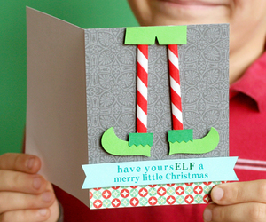 card, christmas, and elf image