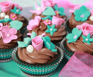 chocolat, muffins, and fleures image