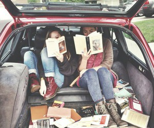 book, car, and friends image
