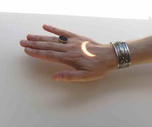 moon, hand, and grunge image