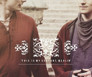 bradley james, colin morgan, and merlin image