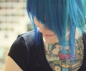 girl, tattoo, and blue hair image