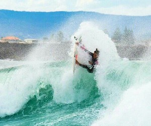 surfboard, surfing, and waves image