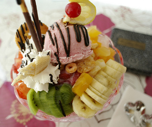 ice cream, food, and fruit image