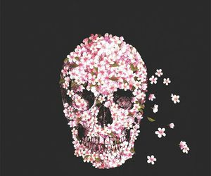 flowers, skull, and wallpaper image