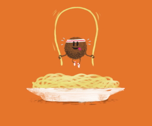 funny, food, and spaghetti image