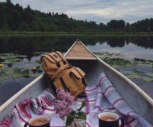boat, lake, and nature image