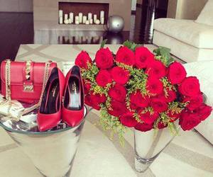 red, rose, and fashion image