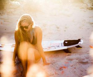 surf, surfer girl, and surfing image