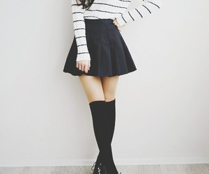 black and white, cardigan, and girl image