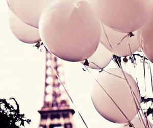 balloons, eiffel tower, and pink image