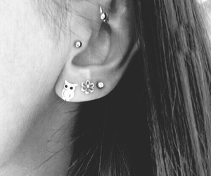earrings, piercing, and ear image