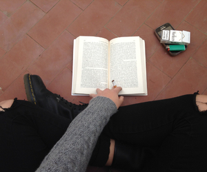 book, cigarette, and boots image