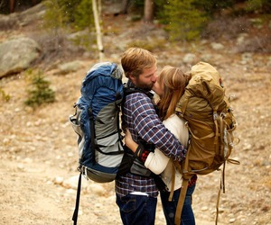 adventure, couple, and kiss image