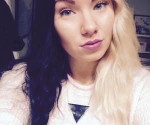 hair, lipstick, and half and half hair image