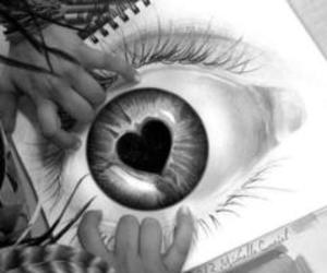 eye, heart, and drawing image