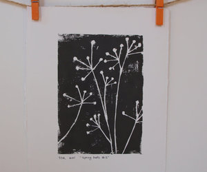 black and white, linocut, and print image