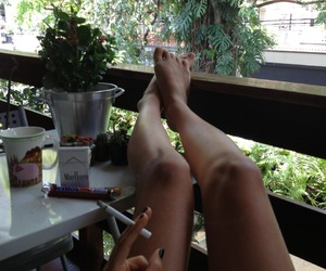 balcony, chill, and legs image