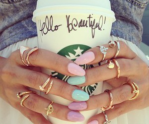 nails, starbucks, and rings image