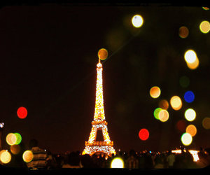 eiffel tower, lights, and torre eiffel image