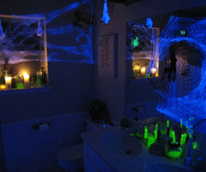 creepy, neon, and spider web image