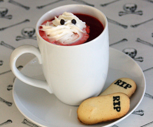 coffee, cookie, and Halloween image