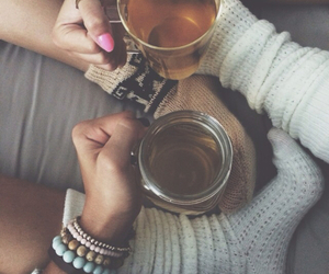 tea, socks, and autumn image