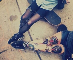 tattoo, girl, and skate image