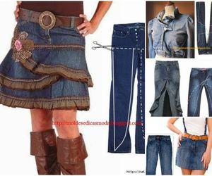 diy, jean jacket, and jean skirt image