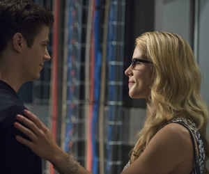 barry allen, grant gustin, and felicity smoak image