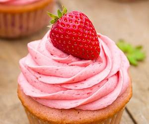cupcake, food, and strawberry image