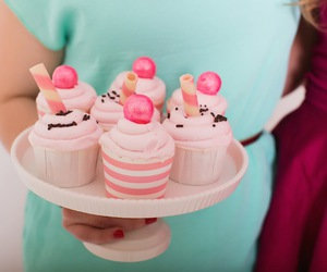 food, pink, and cupcakes image
